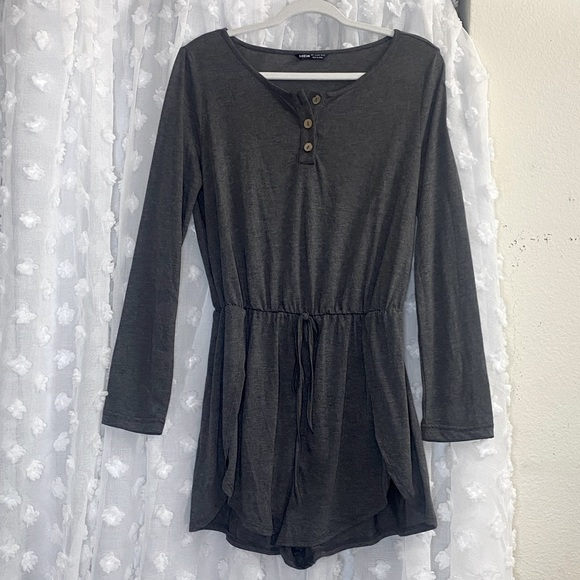 SHEIN Gray Long sleeve Romper w/ buttons